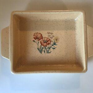 Vtg Treasure Craft Crockery Serving Dish Ovenware Wild Flowers Poppies USA