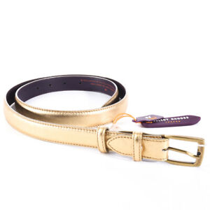 ELLIOT-RHODES-Belt-Gold-Slim-Leather-Size-Medium-Large-BG-460