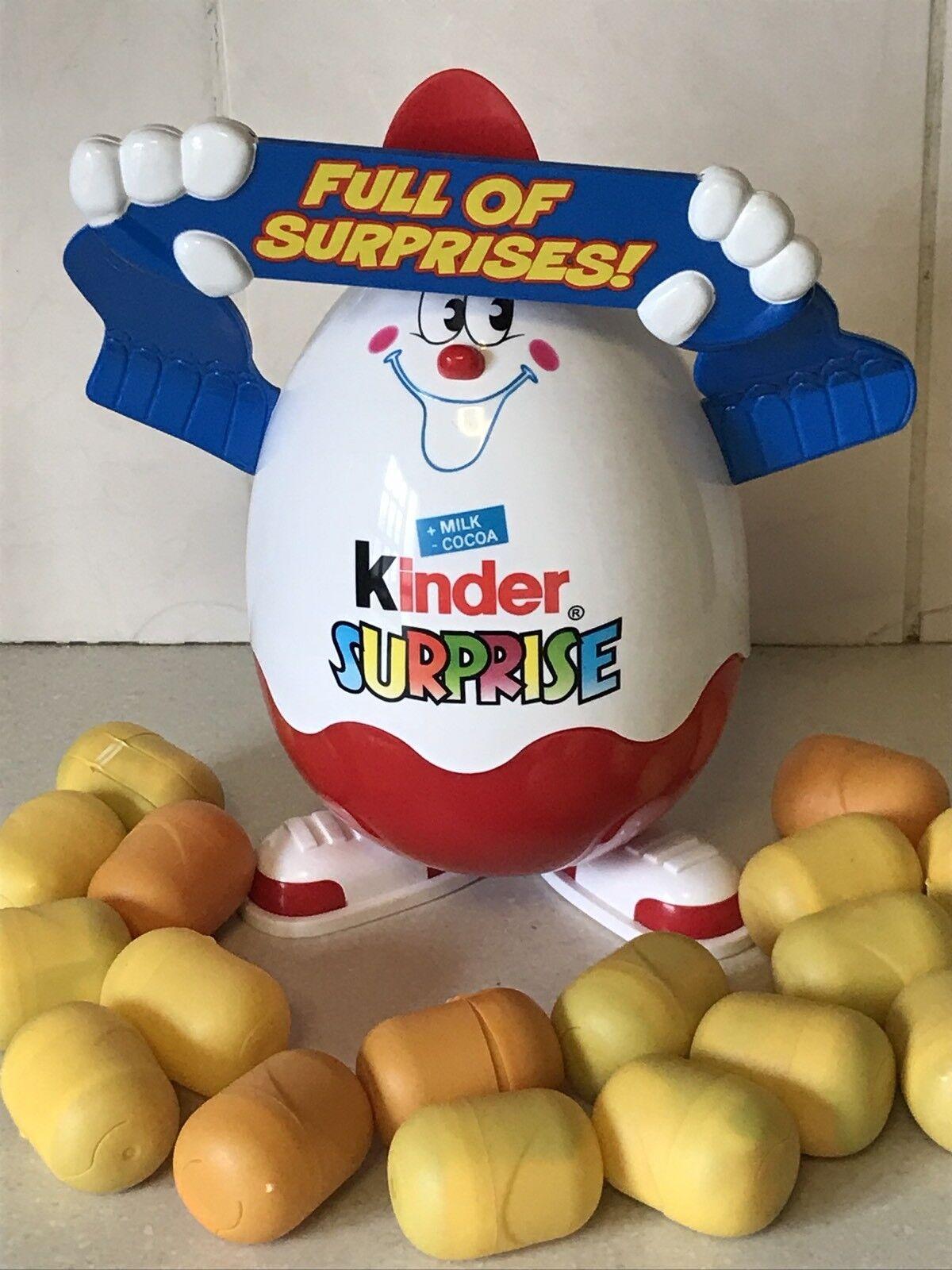 Kinder Egg Surprise Mega Rare Capsule Toy Display Counter Holder & 26 Full