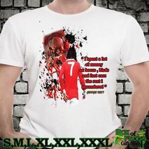 a74579c7a RETRO ICON GEORGE BEST FOOTBALL LEGEND ART MAN UTD FANS T SHIRT GIFT ...