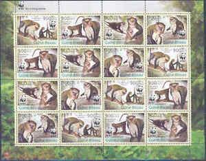 GUINEA BISSAU WWF WORLD WILDLIFE FUND CAMPBELL'S MONKEY SHEET OF 16