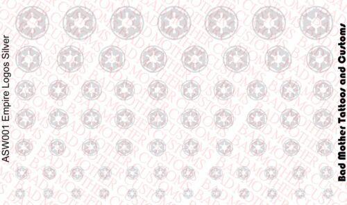 1//18 Scale Decals Star Wars Empire Logos Metallic Silver Waterslide Decals