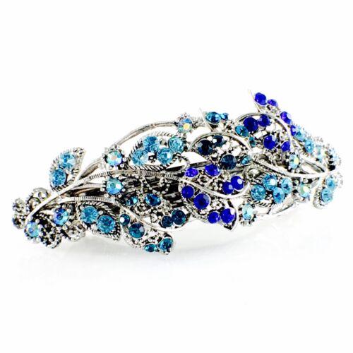 WOMENS VINTAGE BARRETTE Rhinestone Crystal Hair Clip Hairpin Elegant Blue 5/_4