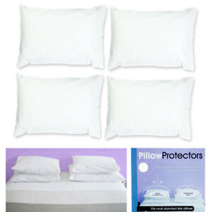 Set-Of-4-Pillow-Protector-Cover-Standard-Size-Pillowcase-Soft-Fabric-Bedding-New