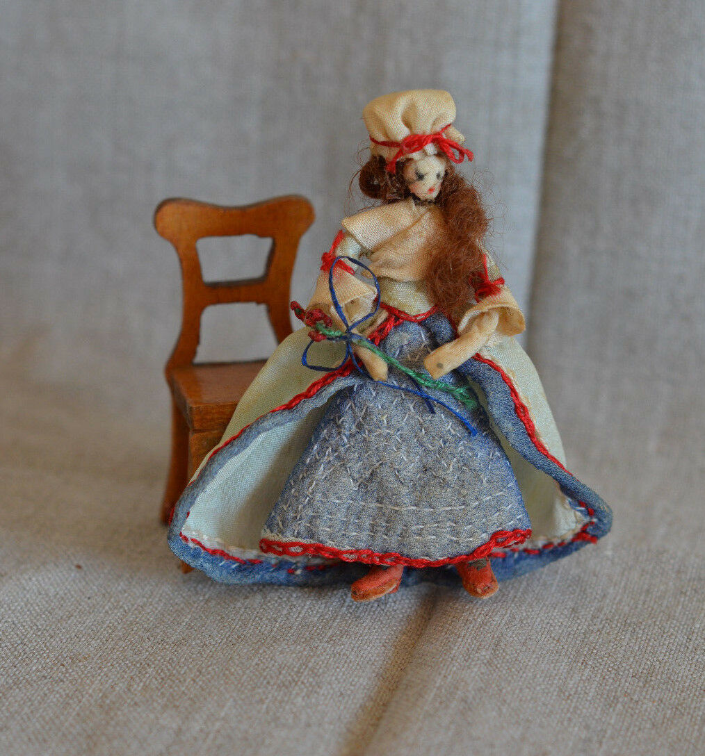 Vintage Artisan Dollhouse Miniature Lady Doll 18th 18th 18th Century Colonial Woman 3