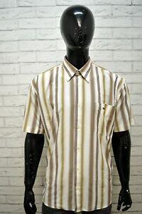 Camicia-TOMMY-HILFIGER-Uomo-Taglia-XXL-Maglia-Polo-Manica-Corta-Cotone-Righe