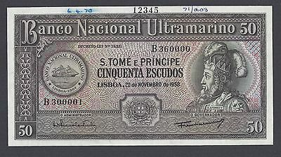 Bright Saint Thomas & Prince 50 Escudos 20-11-1958 P45s Specimen Uncirculated Clear-Cut Texture Other African Paper Money