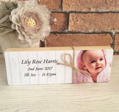 Personalised Wooden Shelf Sitter Photoblock Newborn New Baby Unique Keepsake