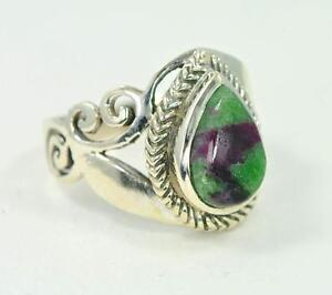 925 Sterling Silver Handmade Ring With Ruby-Zoisite Stone....
