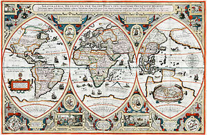 1618 World Map by Franciscus Haraeus Verhaer Vintage History Wall Poster Antique