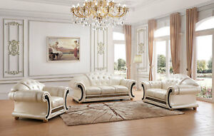 Details about Apolo Versace Style Living Room Set in Pearl Italian Leather  - 6 Piece