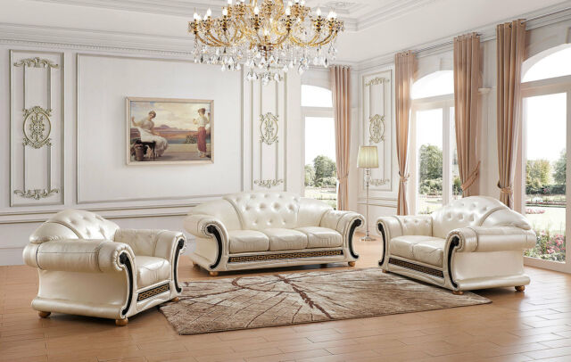 Terrific Versace Apolo Living Room Set Sofa And Loveseat In Pearl Italian Leather Machost Co Dining Chair Design Ideas Machostcouk