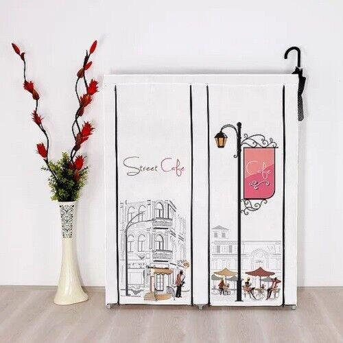 Prado Elite portabler Kleiderschrank mit Seitenregal Café Design