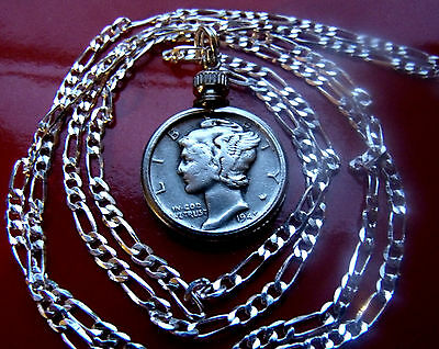 "Antique .900  Silver  Mercury Dime on a 30/"" .925 Sterling Silver Chain"
