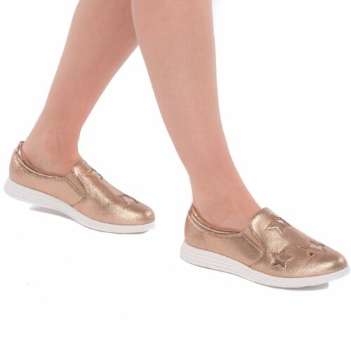 Women/'s Ladies Flats Pumps Slip On Shinny Loafers Trainers Plimsolls Sizes 3-8