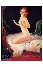 Pin Up Girl Poster 11x17 nude flapper bear skin rug fireplace art deco