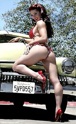 """3.25"""" SOFT & SEXY HOT ROD GIRL IN A THONG  Sticker / Decal. Pinup Laptop pin up"""