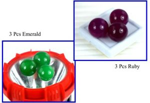 Round Shape 180 Ct 6 Pcs Natural Emerald & Ruby Lot Gemstone Ball For Pendant