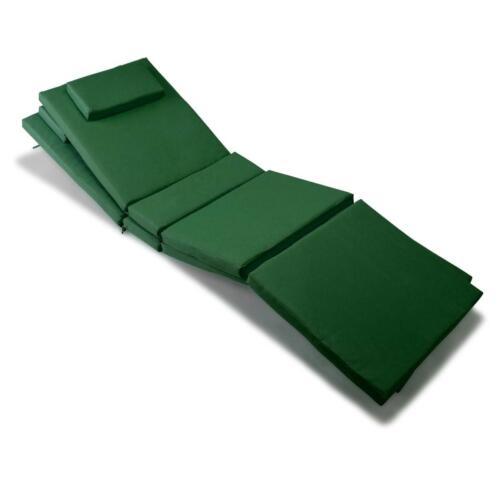 Divero 2x Liegenauflage Polster für Gartenliege mit Kopfkissen hochwertig grün