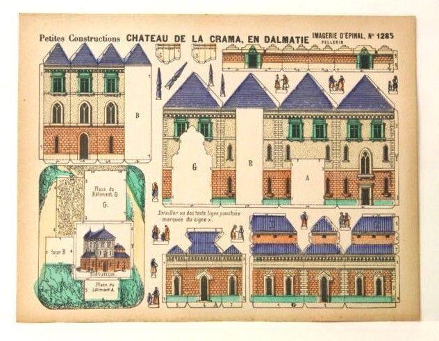 Imagerie d'epinal No1285 Chateau de la Crama Dalmatie Petite construcciones Modelo