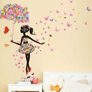 Wall sticker adesivo girl butterfly fiori farfalle - Decorazione parete cameretta ...