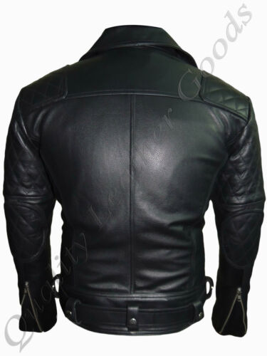 MEN PREMIUM SYNTHETIC  SOFT LEATHER JACKET BIKER QUILTED PADDED BLUF ROCK PUNK