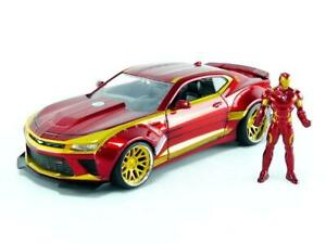 Jada-Toys-Marvel-Iron-Man-amp-2016-Chevy-Camaro-Die-cast-Car-1-24-Scale