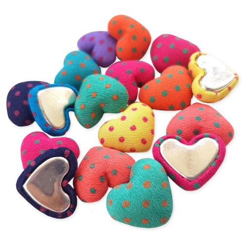 20pcs Pois Polka Dot Coeur Tissu Couvert Embellissements Flatback Craft