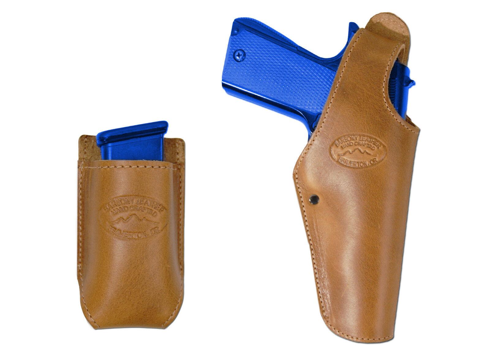 Nuevo barsony cuero tostado Owb Cartuchera + bolsa del Mag Astra Beretta de tamaño completo de 9 mm 40