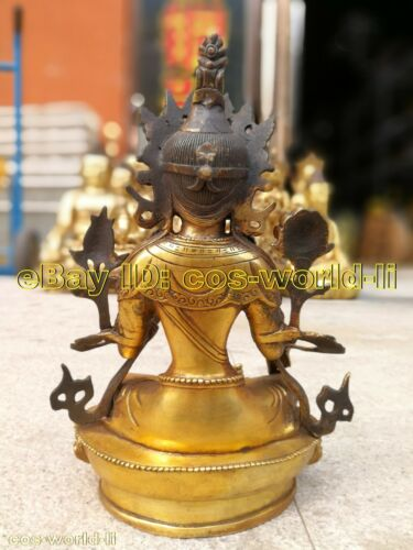 buddhist Ancient Bronze gilding Buddha Bodhisattva Tara Green Statue