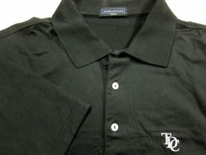 907e05767 NEW Peter Millar Solid Black Cotton Golf Polo Shirt M TDC Logo | eBay