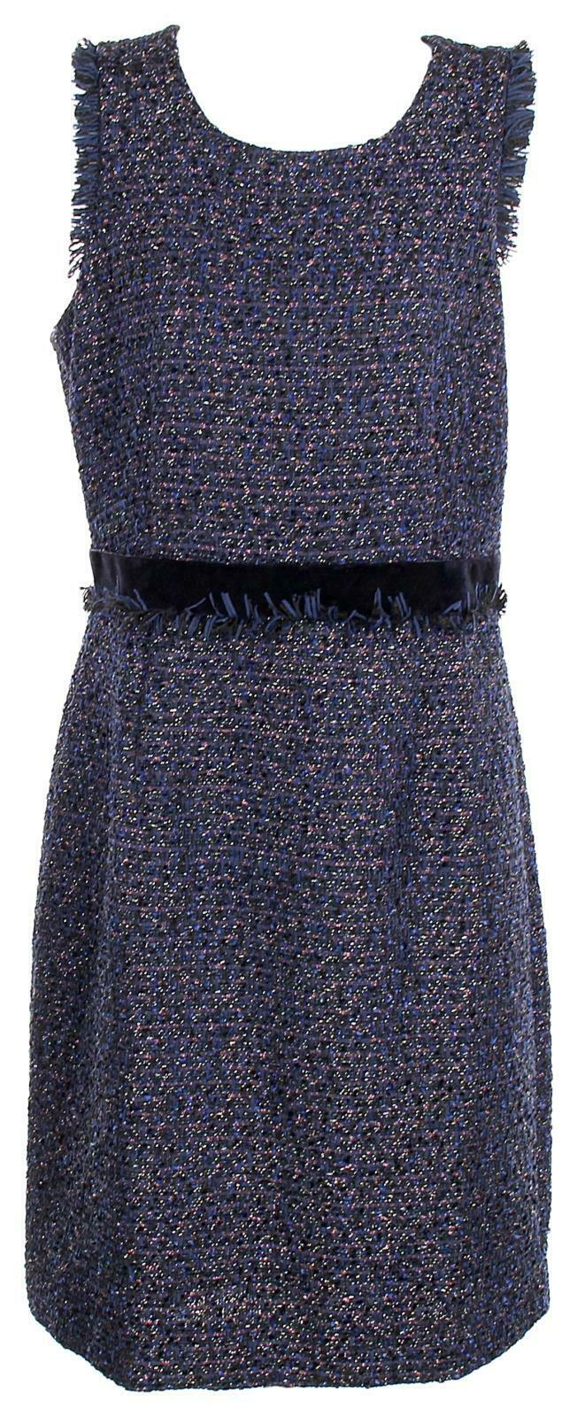 J Crew Woherren Sparkle Tweed Sleeveless Sheath Fringe Woven Dress Blau 10 H3599