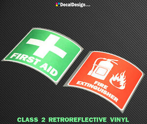 REFLECTIVE-Fire-Extinguisher-amp-First-Aid-sticker-OH-amp-S-Sign-Safety-Decals
