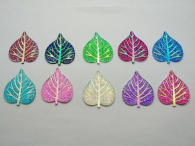 20 Mixed Color Flatback Resin Glitter Heart Leaves Rhinestone Cabochons 38X33mm
