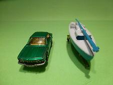 MAJORETTE 235 BMW 3.0 CSI + BOAT TRAILER - GREEN 1:60 - RARE SELTEN - GOOD