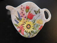 Colonial Williamsburg Tea Pot Bag Holder Cottage Garden Flowers Caddy Teabag