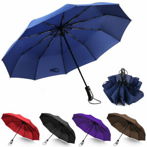 6cfbcdd46379 Details about Travel Umbrella,10 Ribs Automatic Open/Close Compact  Windproof Foldable Umbrella