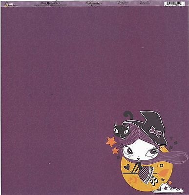 Reminisce - Miss Halloween Scrapbooking Paper 12x12 Double Sided - Witch