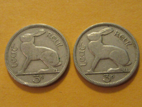 1942 Ireland Coin 3 pence HARE 2 coins for jewelry rabbit coin jewelry WWII era