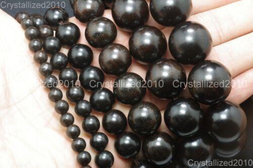 Natural Black Ebony Wood Round Ball Beads Bracelet 6mm 8mm 12mm 15mm 18mm 20mm
