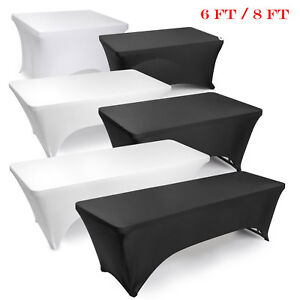 225 & Details about 6FT/8FT Spandex Stretch Tablecloth Table Cover Wedding Party Trade Show Outdoor