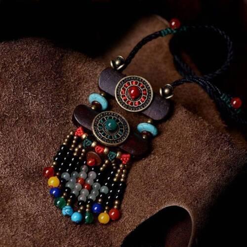 Souvenir vintage long sweater wooden necklace ethnic Tibetan turquoise jewelry l