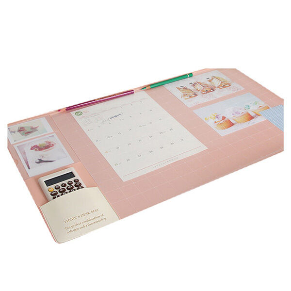 Baby pink Non Slip Pad Desk Mat Mouse Pad With Various Pockets