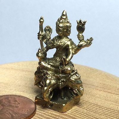Miniature Figurine Brass Statue of Buddha Pra Pidta Yan Yung Metalwork Art #2