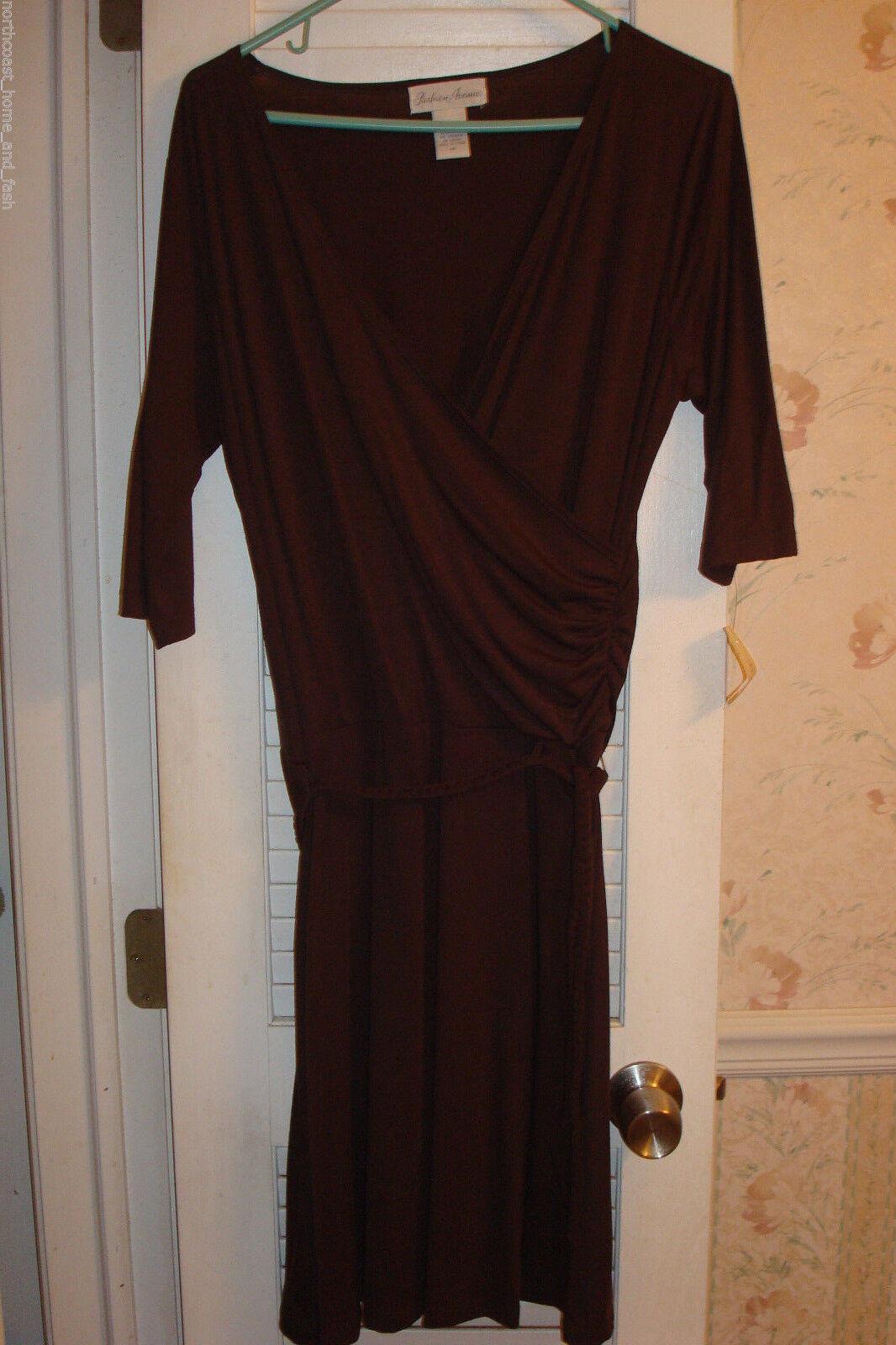 Fashion Avenue Medium Size 8 - 10 Brown Wrap Dress 3 4 Sleeves  NWT