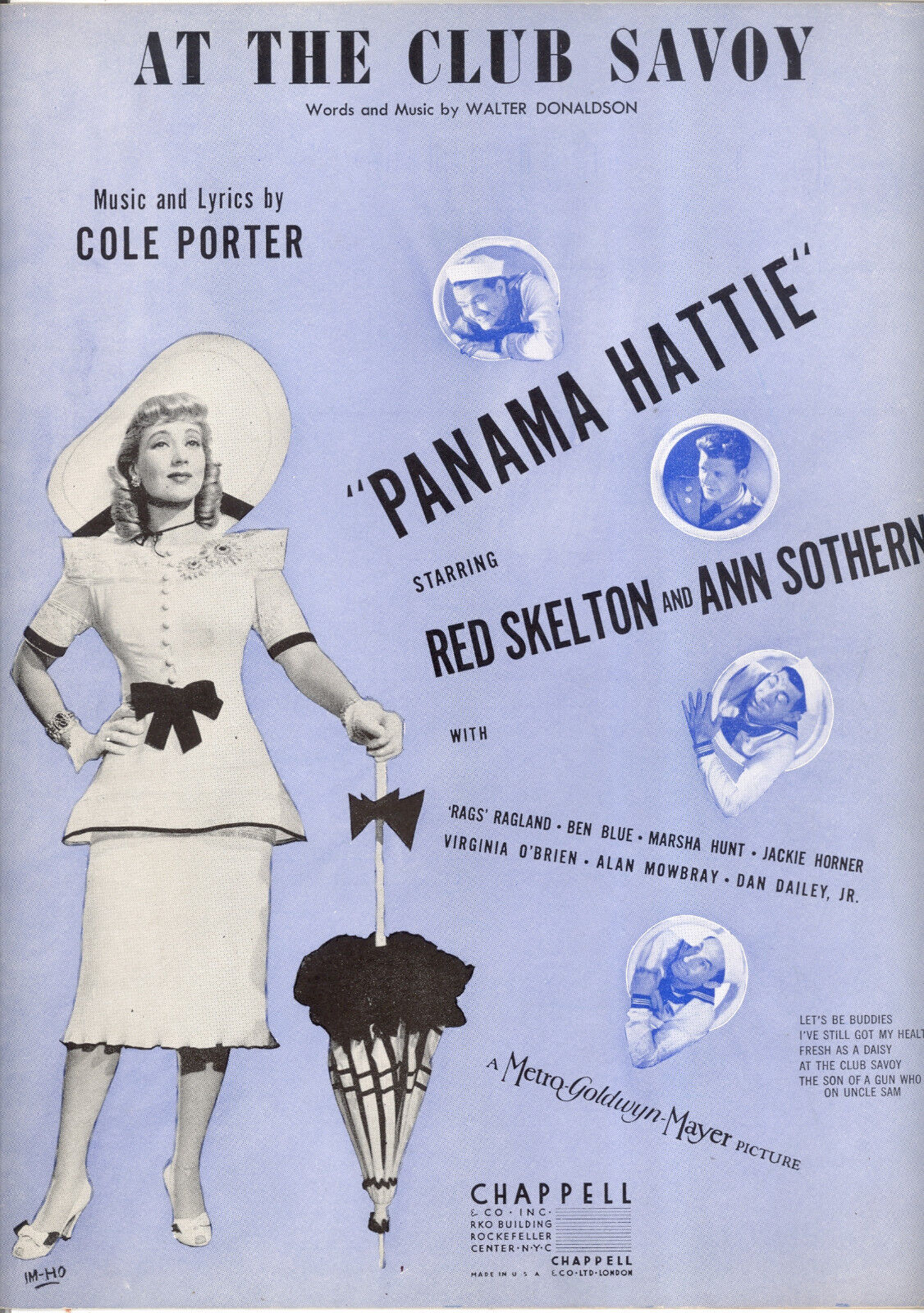 PANAMA HATTIE Sheet Music  At The Club Savoy  Ann Sothern rot Skelton Ben Blau