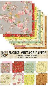 "Paper 24sh 6/""x6/"" # Bright Flowers Vintage # FLONZ 051 Craft Scrapbooking"