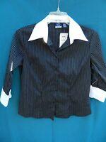 Dcc Missy Black W/pinstripe 3/4 Sleeve Poly Blend Shirt Size M