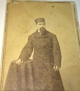 Antique-Victorian-American-Civil-War-Era-Gent-Long-Coat-amp-Hat-Stamp-CDV-Photo