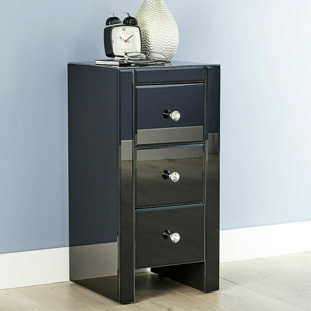 Venetian Bsdven3bl Mirrored Bedside Cabinet 3 Drawer Table Black For Sale Online Ebay